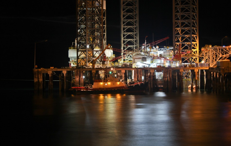Jackup Offshore Drill Rig at Night